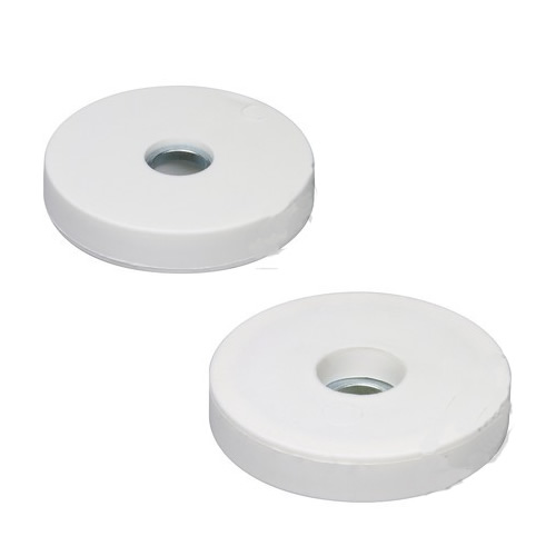 White Rubberized Pot Magnet w Cylinder Bore