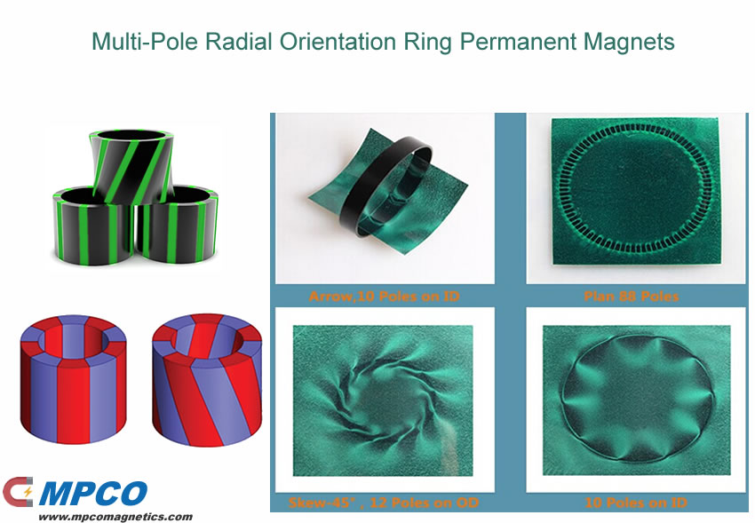 Multi-Pole Radial Orientation Ring Permanent Magnets