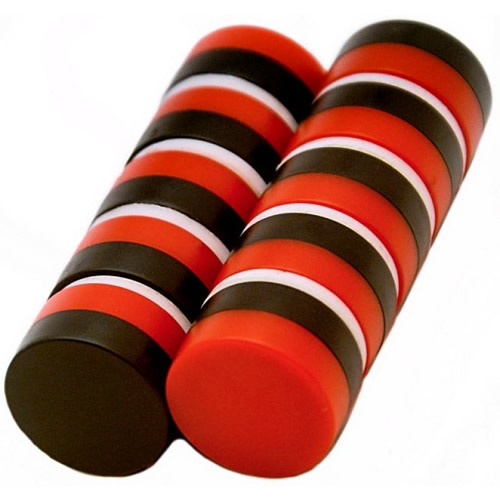 Round Notice Board Magnets Red and Black
