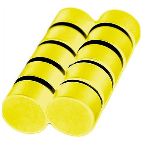 Small Plastic Coated Disc Magnets Yellow