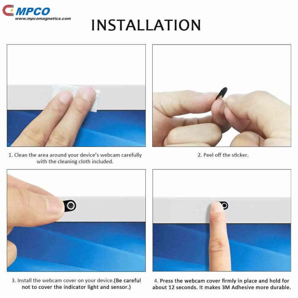 Ultra Thin Metal Magnet Webcam Cover Installtion