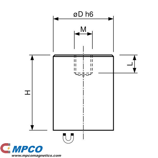 ndfeb-deep-pot-magnets-brass-body-with-fitting-tolerance-h6-and-internal-thread drawing