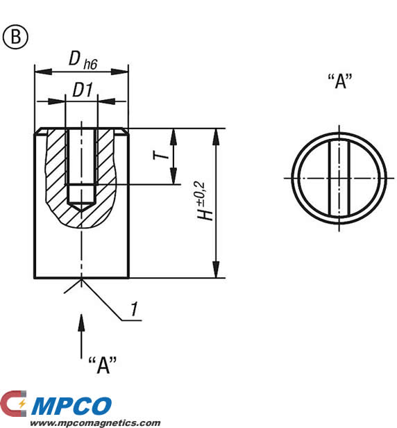 Magnets deep pot SmCo, Form B drawing