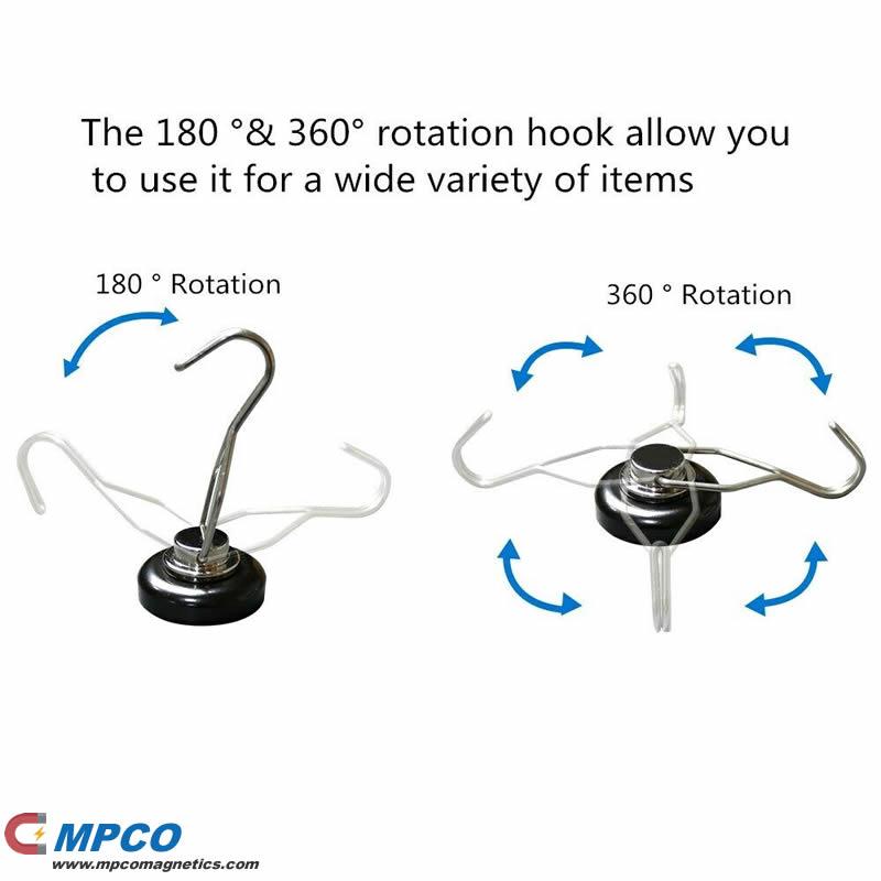 180 360 rotation hook magnet