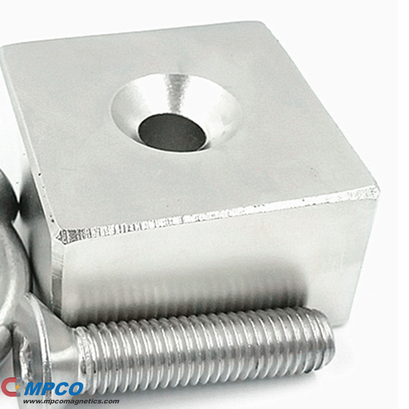 Stainless Steel Block Permanent Search Countersunk Magnet