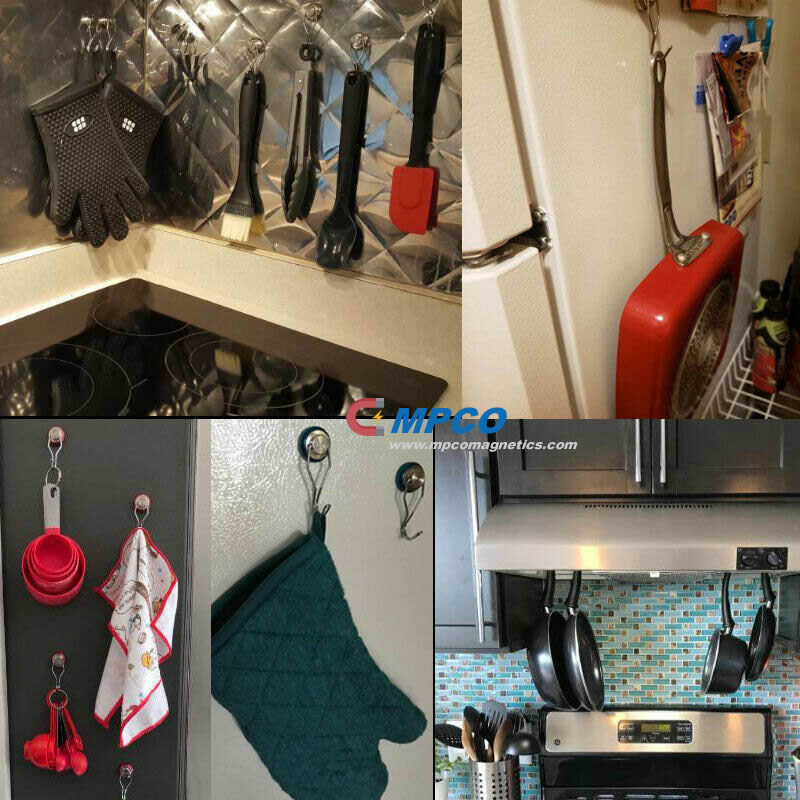 Strong Rotatable Swing Magnetic Hooks for Home Organizer Storage Kitchen