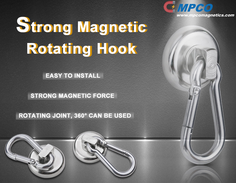 strong magnetic rotating swivel carabiner hook