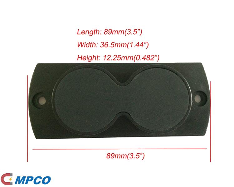 Two Round Gun Magnet Holder Size Dimension