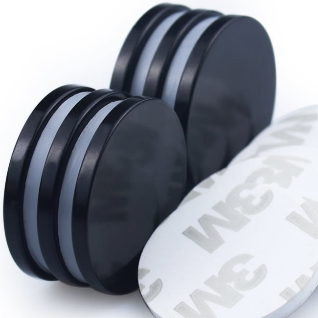 Black Epoxy Coated 3M-Adhesive Disc Round Magnets