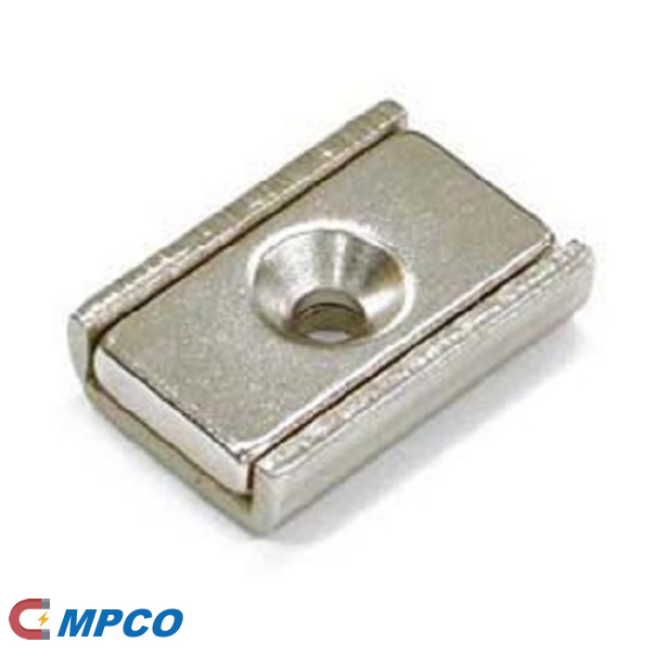 Channel magnet Neodymium 20x13,5x5mm with countersunk borehole