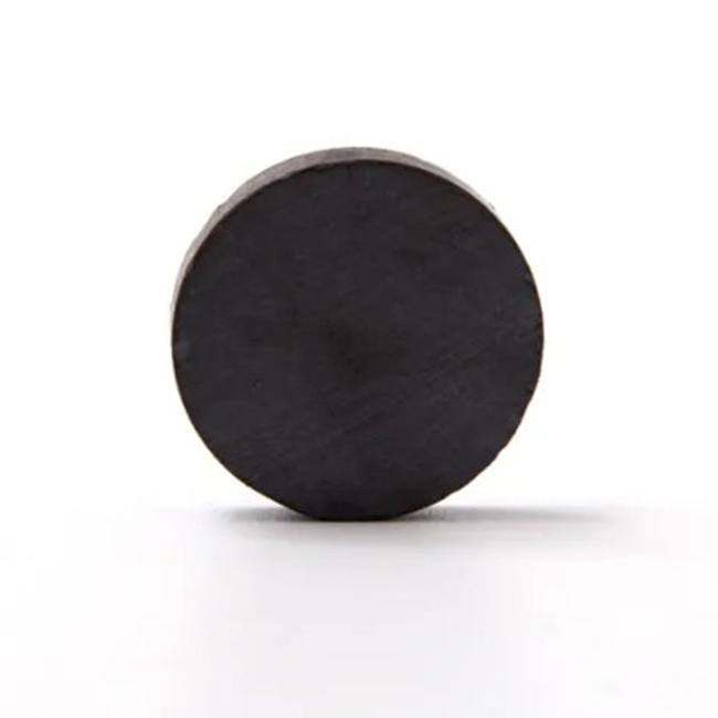 Double Pole Flat Round Hard Ferrite Magnet D40mmX6mm