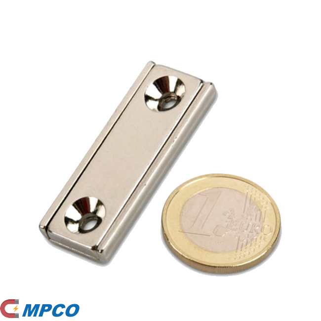 Neodymium Channel Block Magnet 40x13,5x5mm with countersunk borehole