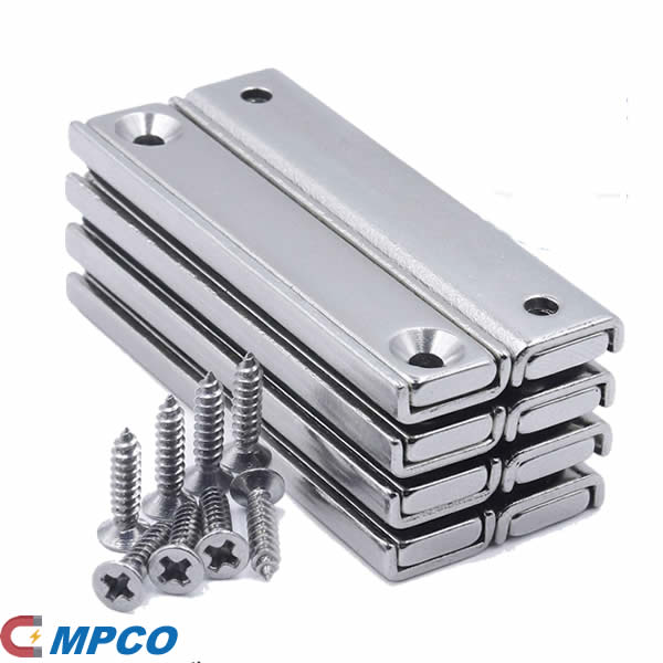 Neodymium Rectangular Pot Magnets with Counter Bore