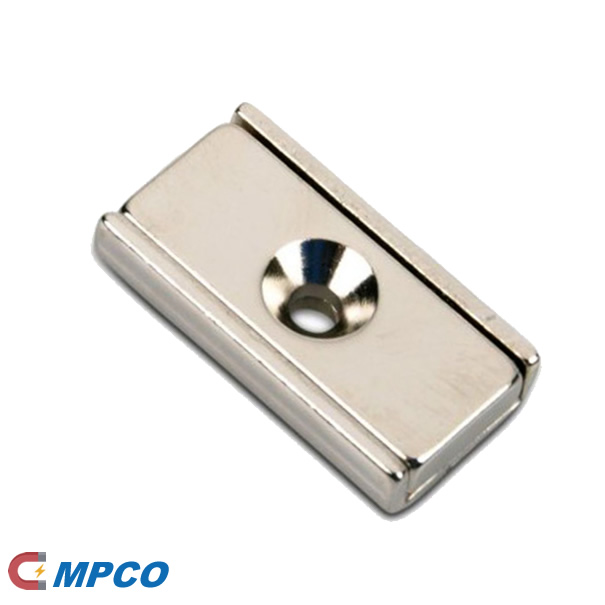 Rectangle Countersunk Borehole Channel Neo Magnet