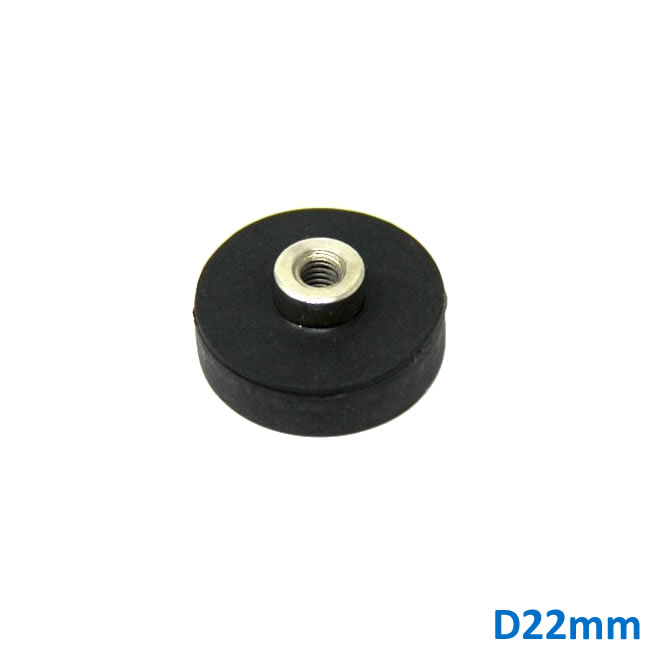22mm Dia Rubber Coating Ceiling Magnet with Female Thread M4