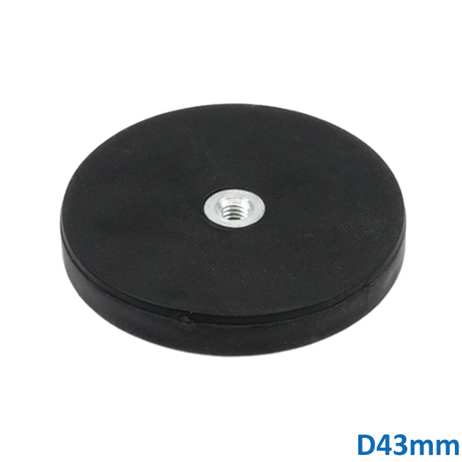 43mm NdFeB Rubber Coated Magnet with Female Thread M4