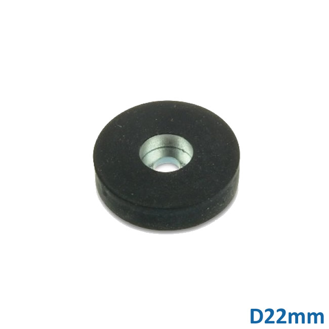 D22mm Rubber Coated Neodymium Magnet with a Countersunk Hole