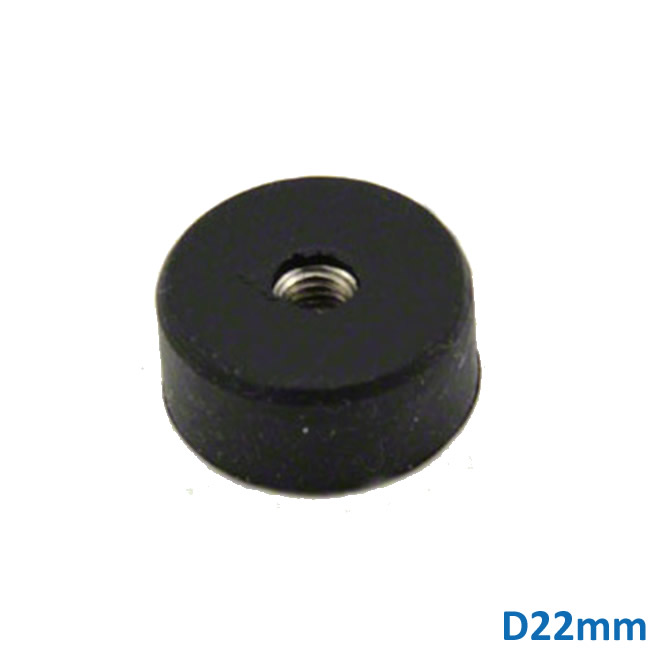 Dia22mm Rubber Coated Neodymium Pot Magnets w M5 Screw Threaded Center Hole