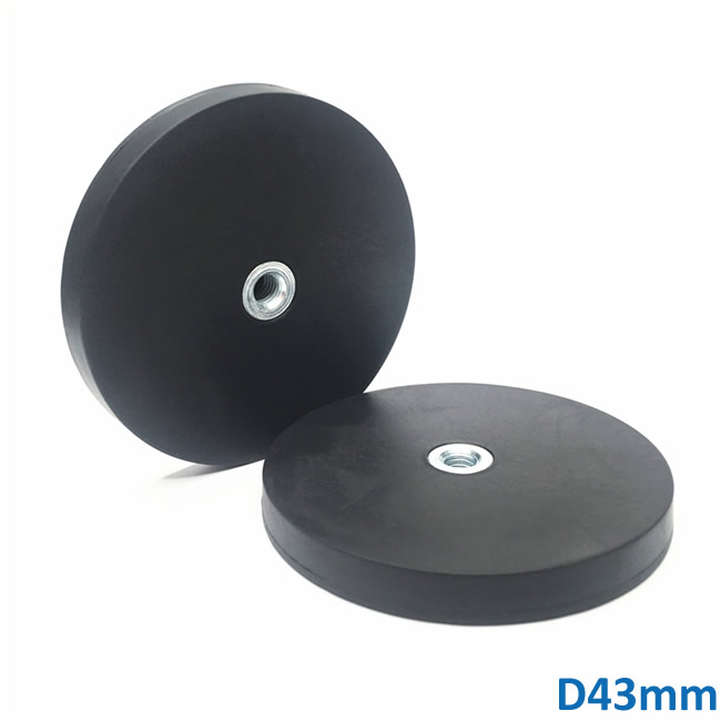 Internal Thread NdFeB Rubber Coated Magnet Pot With Center Hole 43mm