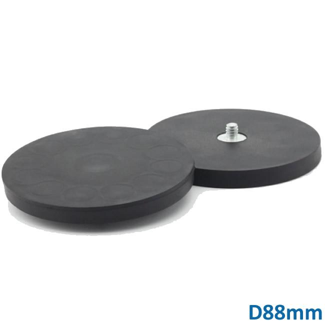 Neodymium Composite Rubber External Thread Pot Magnets 88mm Diameter