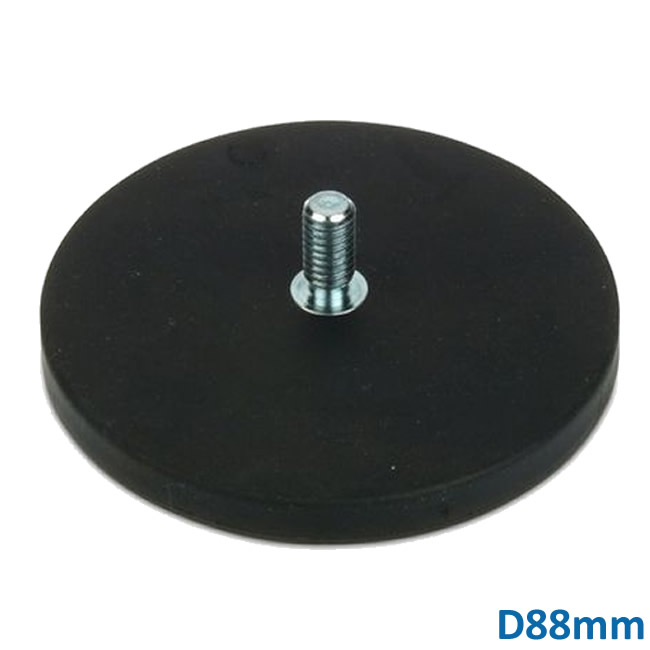 Ø88mm Black Rubber Cover Magnet Base w Male Thread