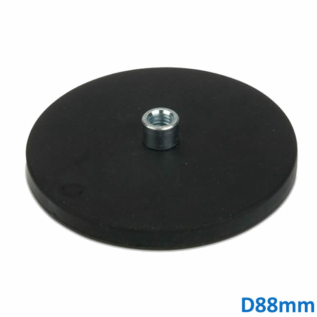 Ø88mm Rubber Covered Holding Mount Magnet with M8 Boss Thread