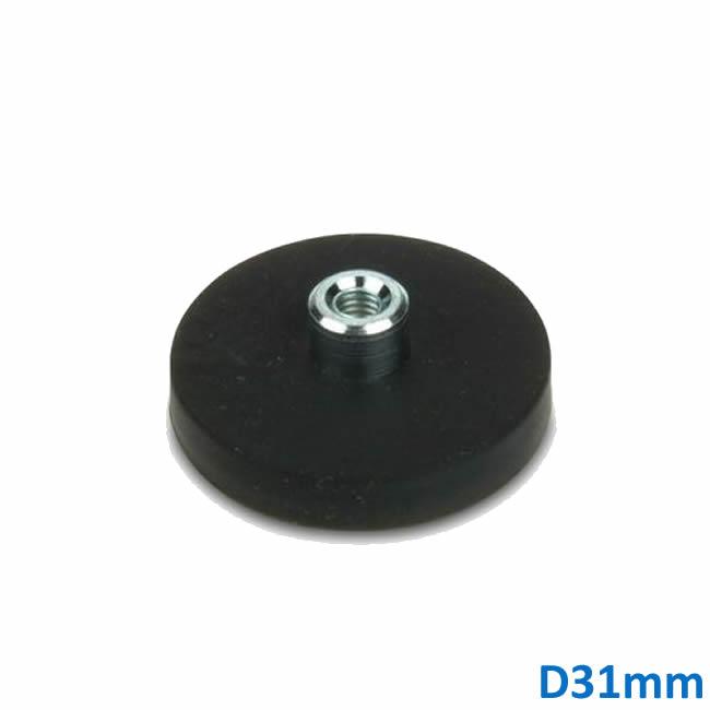 Pot Magnet Neodymium with Threaded Bush Black Rubber Coated 31mm