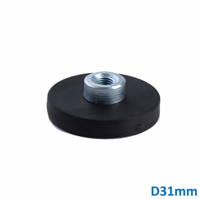 Rubber Coated Neodymium Magnets with Screwed Bush D31mm