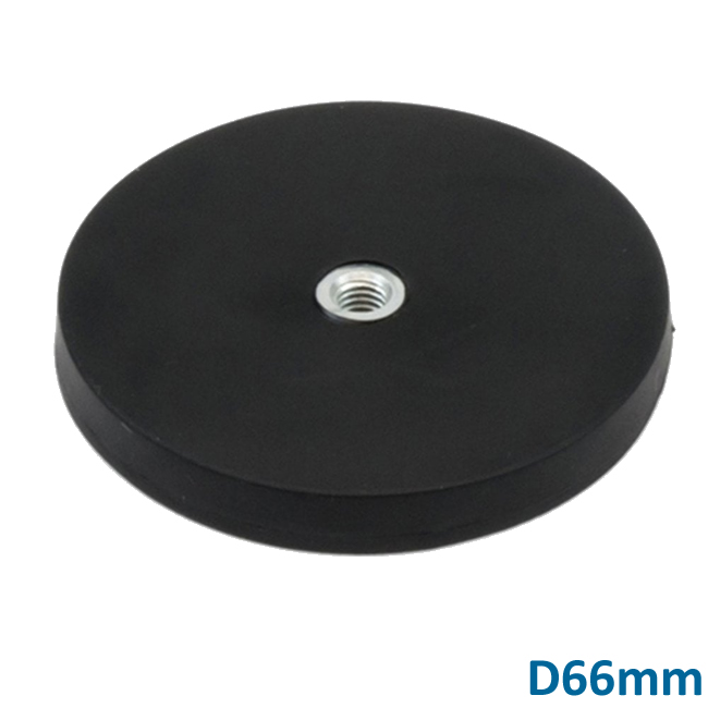 Rubber Embedded Pot Magnet with Internal Thread D66mm