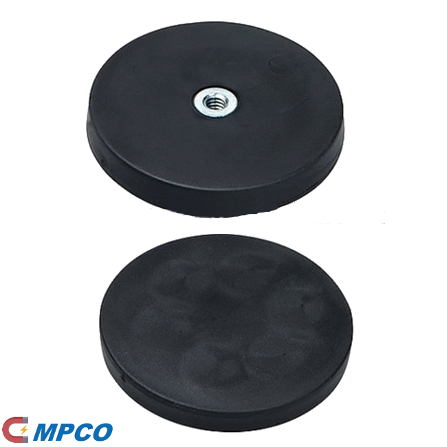 Rubber coated mounting magnets with boss inner thread