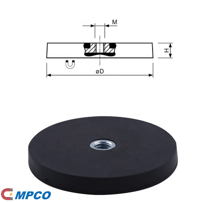 Rubberised Holding Pot Magnet Neodymium with Internal Thread Drawing