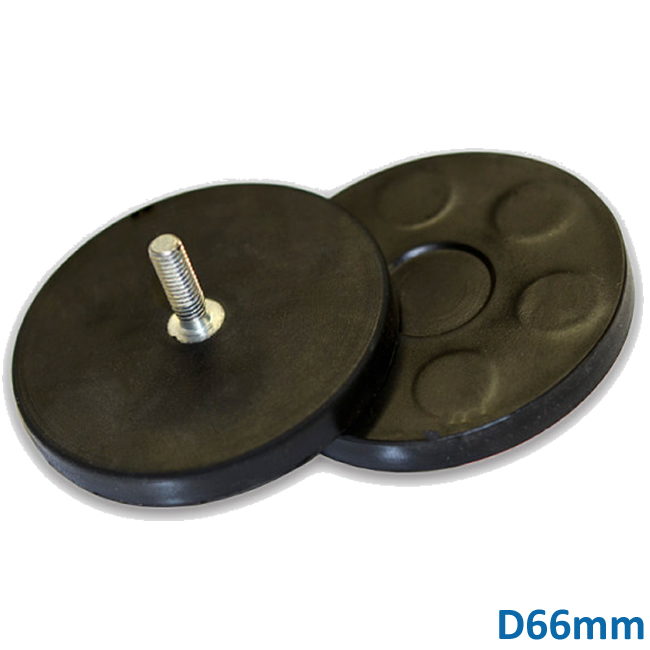 Threaded Stud Rubber Embedded NdFeB Clamping Magnets D66mm