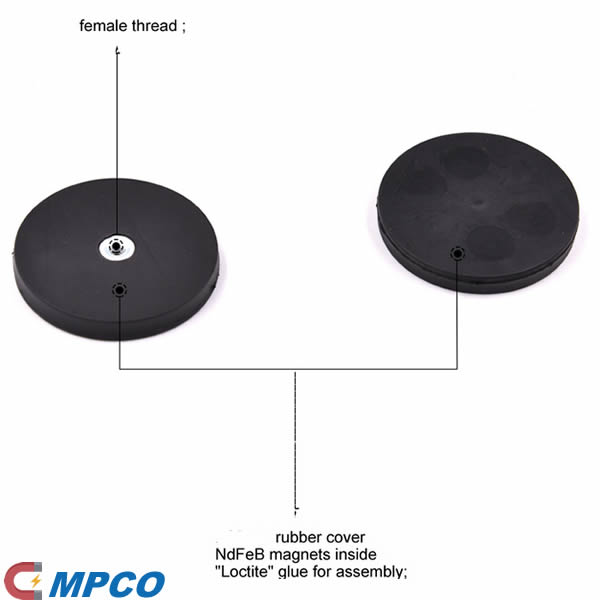 rubber cover ndfeb magnetic base with female thread M4 M6 M8 for car roof led work light