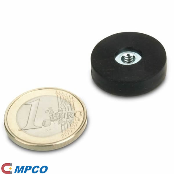 rubberized pot magnet system Ø22mm with internal thread M4