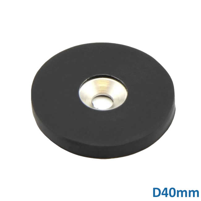 40mm Dia NdFeB Countersunk Furniture Fixing Magnets w Rubber Coating