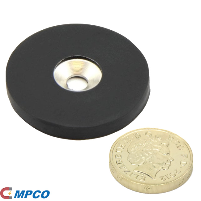 40mm Dia NdFeB Lighting Fixing Magnets w Rubber Coating and Countersunk Hole