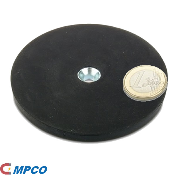 88mm Diameter Pot Magnet Assembly NdFeB with counter bore and rubber coating