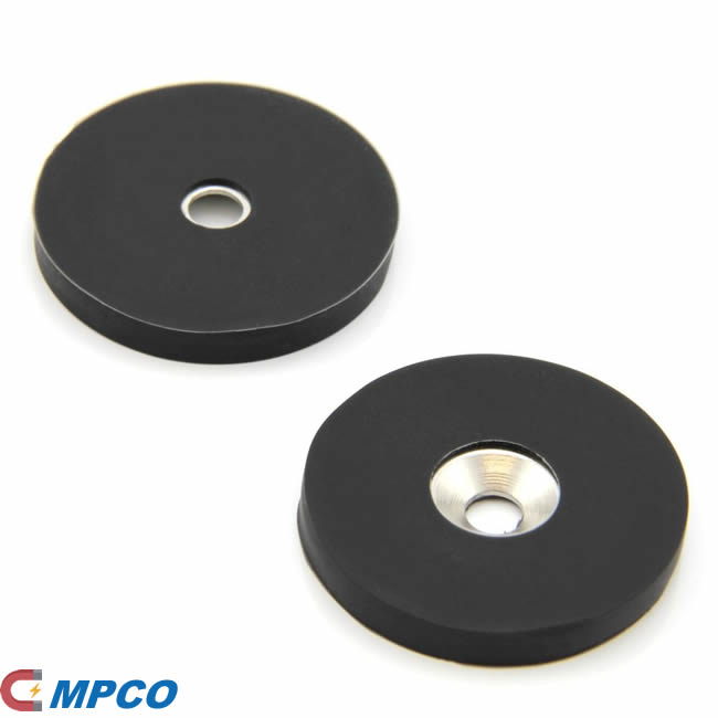 counter bore and rubber coating neodymium magnets D40mm