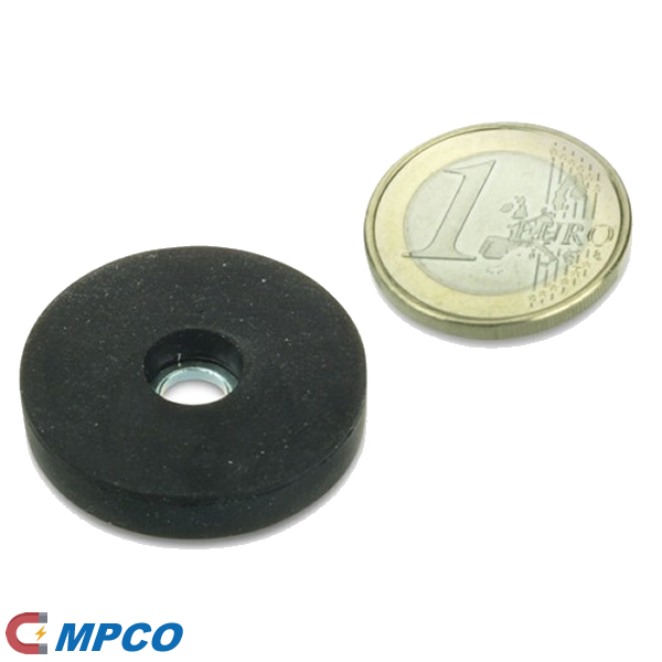 rubber coated Neodymium pot magnets diameter 31mm suitable for fixing signs, plates