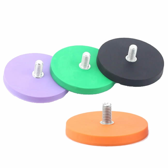 Colorful Rubber Covered Sintered Neodymium Fixing Magnets w Threaded Stud