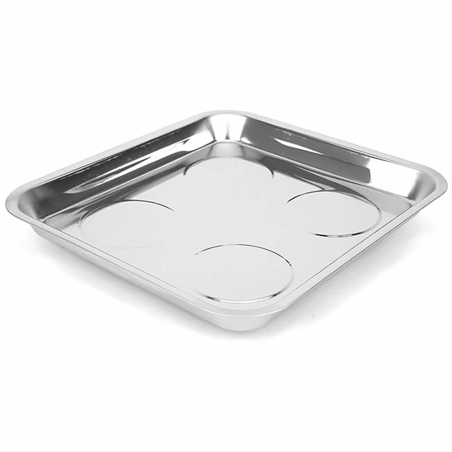 Heavy Duty Bright Polished Stainless Steel Magnetic Tray Square