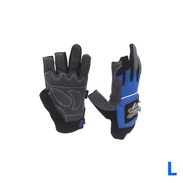 3 Low Cut Fingerless Magnetic Fishing Glove Blue