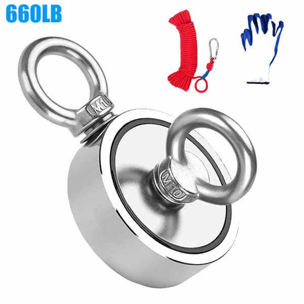 660LB Fishing Magnet with 110ft Rope & Glove