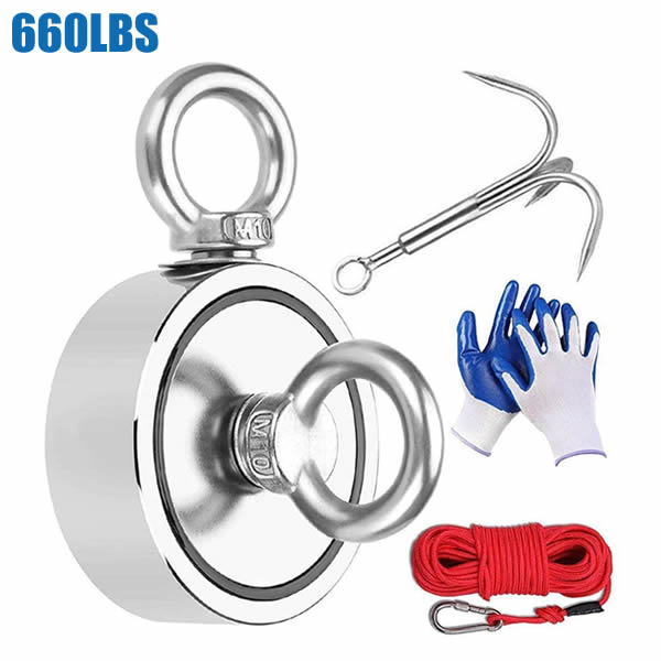 Fishing Magnets Kit 660LBS with 65Ft Rope Outdoor Grappling Hook Glove Carabiner