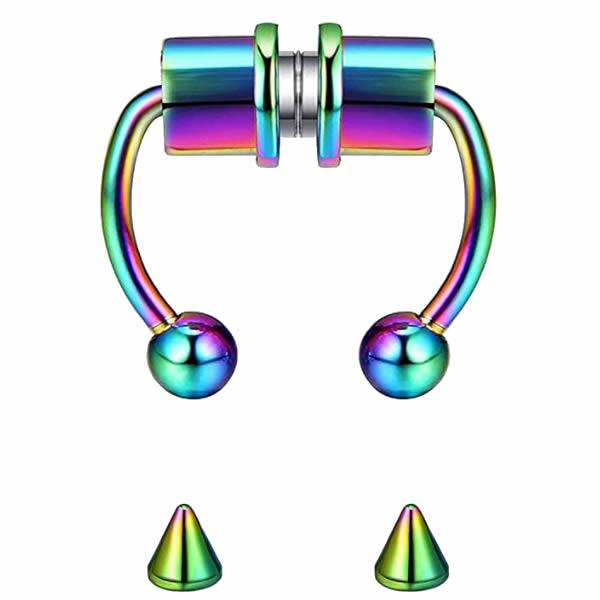 Rainbow Magnetic Septum Nose Ring Horseshoe Nose Clip