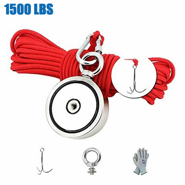 1500lbs Magnet Fishing Recover Kit with Grappling Hooks, Gloves