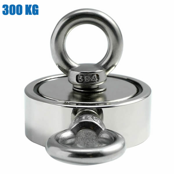 300KG Double Sided Neodymium Salvage Magnet with M8 Eyebolts