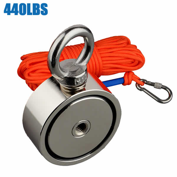440BLS2 Double Sided Round Metal Finder Magnet Kit Rope