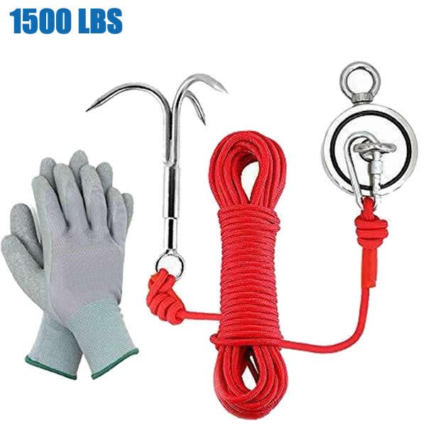 Neodymium Retrieving Magnet Fishing Kit 1500LBS with Hook + Gloves + Rope