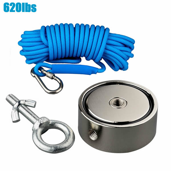 Super Strong Double Sided 620LBS2 Pot NdFeB Magnet Fishing Detect Durable Rope